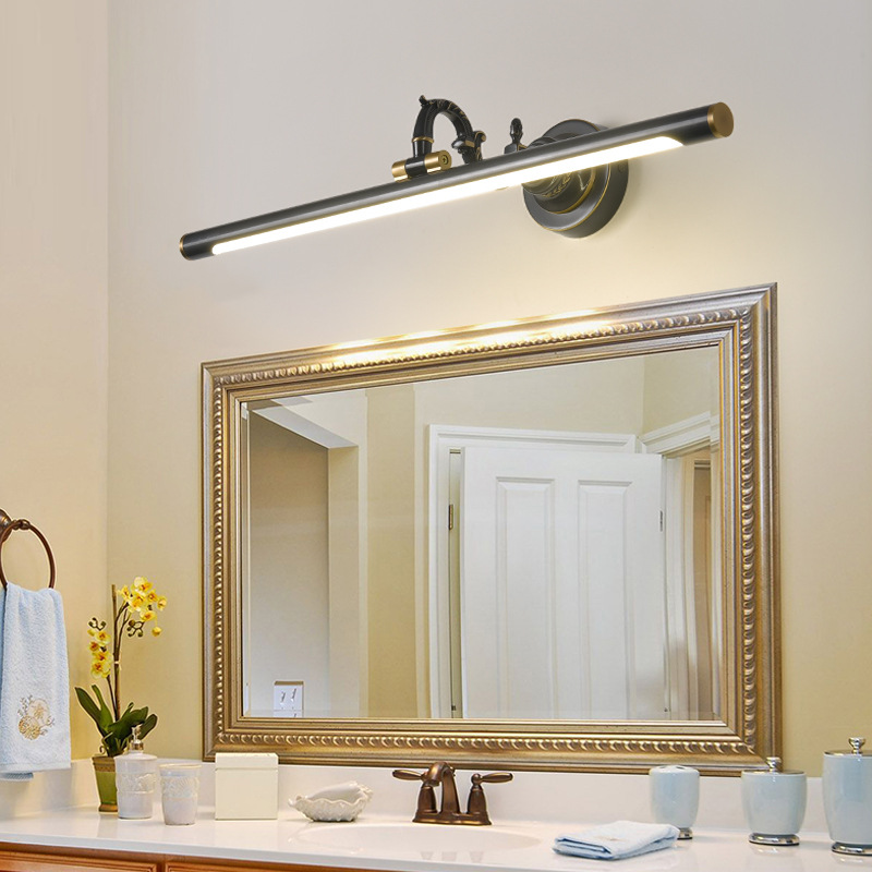 Rotatable Linear Vanity Mirror Light Metal Vintage Wall Mount Lighting In Antique Brass Black 14 18 23 29 5 W Beautifulhalo Com