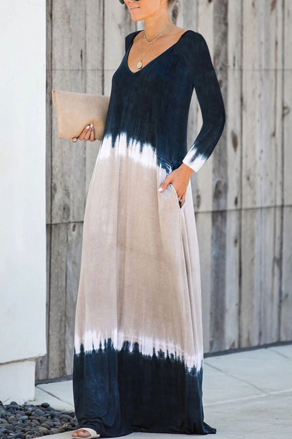 Leisure Tie Dye Printed Colorblock Long Sleeve V-neck Maxi Oversize T-shirt Dress for Women