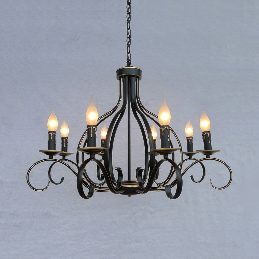 Metal Glass Candle Island Chandelier with Rectangle Shade Antique Style Ceiling Light in Black for Dining Room