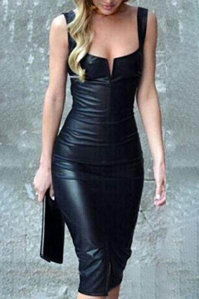 d8cc186edb18f Women's Fashion Notched Front Slim-Fit Bodycon Leather Midi Dress -  Beautifulhalo.com