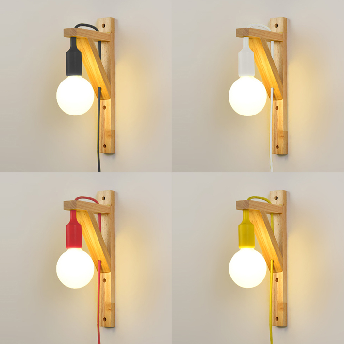 Exposed Bulb Wooden Hanging Wall Sconce
