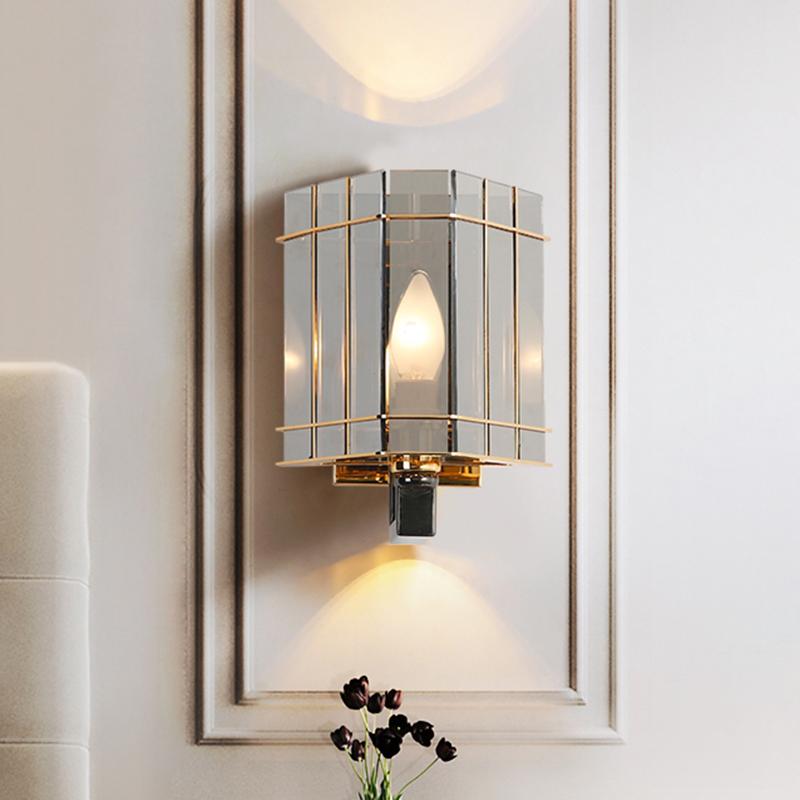 Small Triangle Wall Sconce Postmodern Smoke Prismatic Glass 1 Light Bedroom Wall Mounted Light Beautifulhalo Com