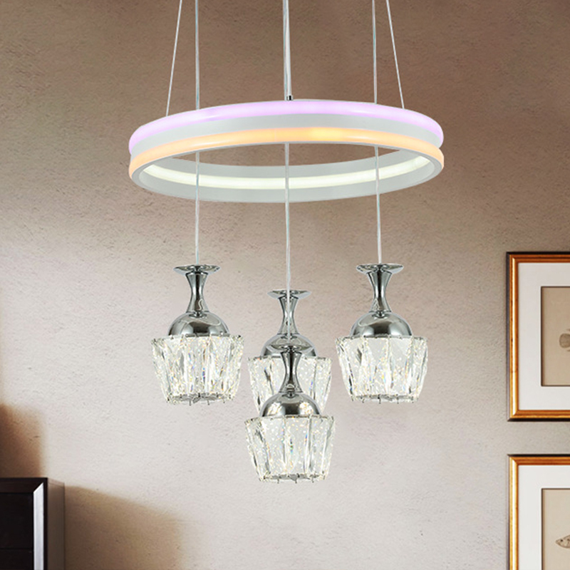 2 Lights Linear Chandelier Light Simplicity White Glass Suspended Lamp for Sitting Room