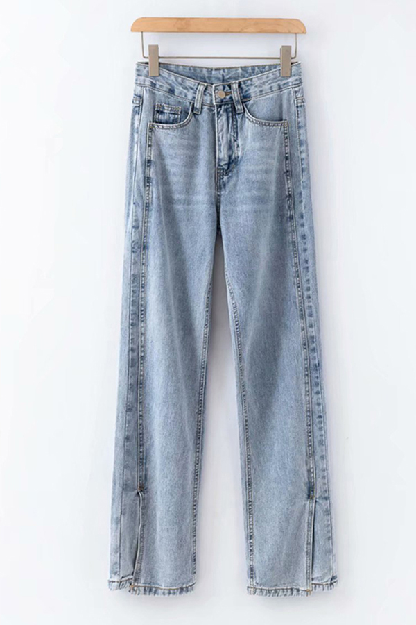 Cool Womens Jeans Faded Wash Split Hem High Waist Zipper Fly Regular Fit Long Straight Jeans On Beautifulhalo Us Canada Ibt Shop The 90's pinch waist jean has finally arrived, with the perfect name c/o @echo66677777. international business times