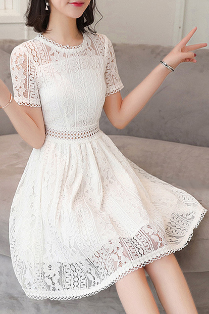 f75116c592 Round Neck Short Sleeve Chic Lace Hollow Out A-Line Midi Dress -  Beautifulhalo.com