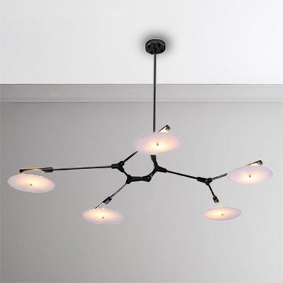 11 Lights Radial Chandelier Light with Hanging Globe Glass Shade Mid Century Modern Suspension Light