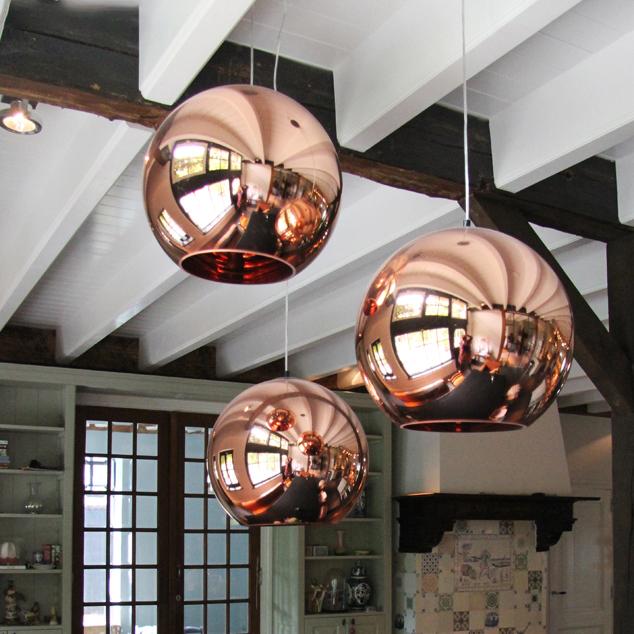 Rose Gold Mirror Ball Pendant Lamp Minimalist Simple Electroplate Glass 1 Light Drop Light Beautifulhalo Com