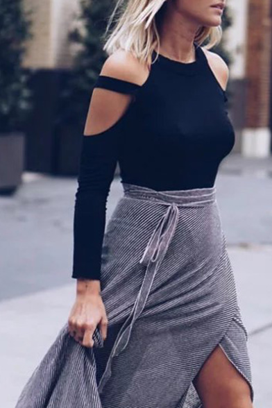 Fashion Cold Shoulder Round Neck Long Sleeve Plain Cropped Pullover, Black