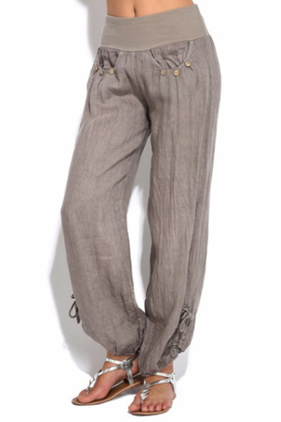 Mens Baggy Loose Wide Leg Straight Pants Casual Plain Yoga Linen Cotton Trousers