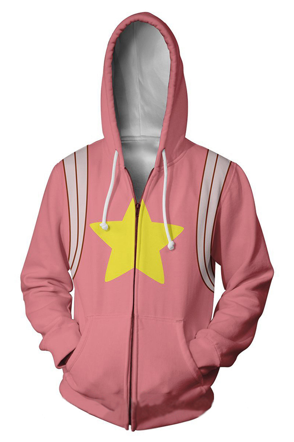 first look biggest discount lowest discount Unisex Popular Anime Star Printed Long Sleeve Zip Up Pink Cosplay ...