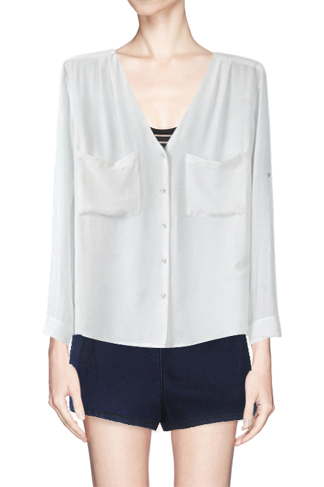 Collarless V Neck Button Up High Low Shirt With Pockets Beautifulhalo Com