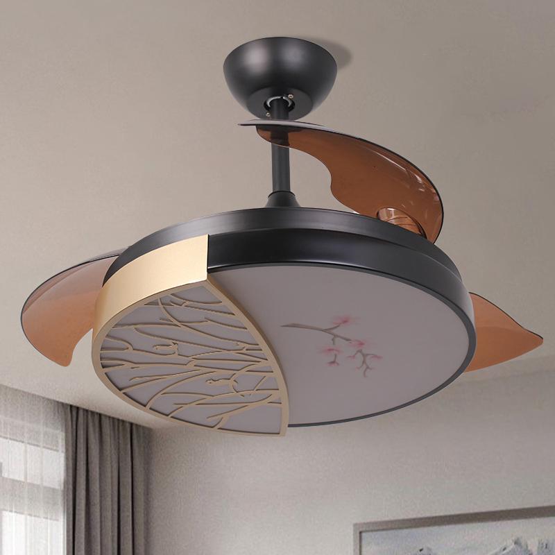 Circle Metal Hanging Fan Light Contemporary Black LED Semi Flush Mount Light with 3-Blade, 42