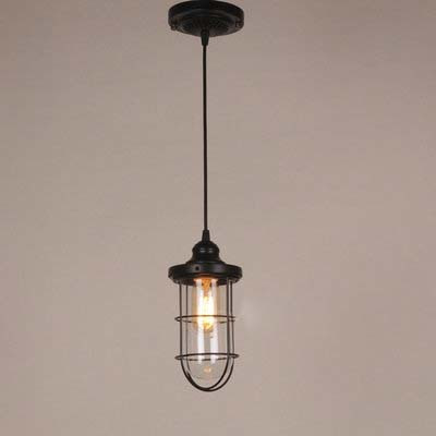 Industrial Style 1 Light Cage Pendant Lighting in Black Finish