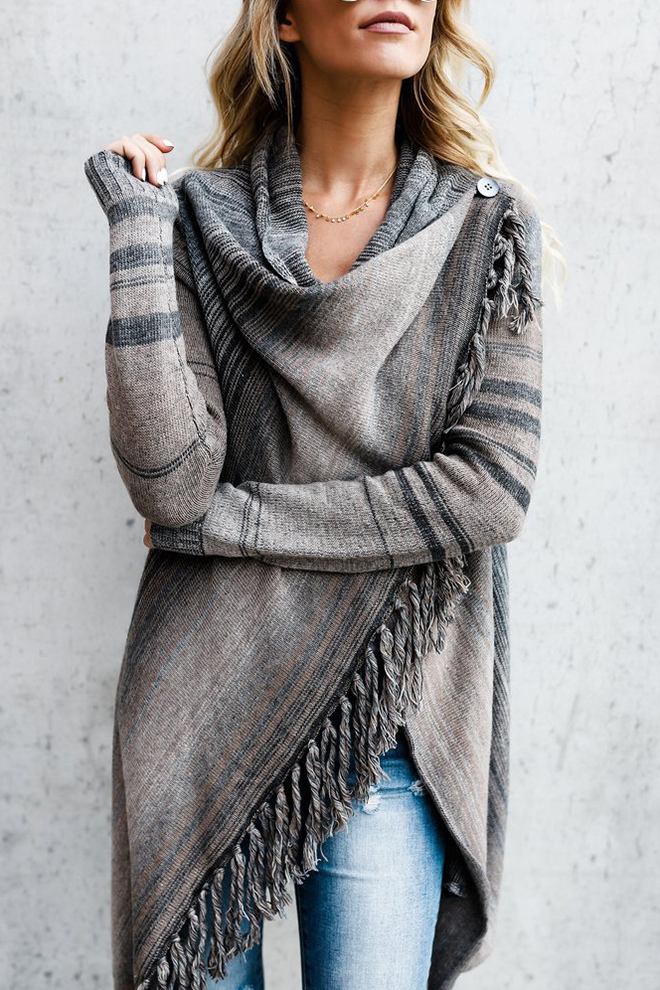 eb3aa15bc4a0 Stylish Striped Pattern Cowl Neck High Low Hem Wrapped Cardigan with Tassels
