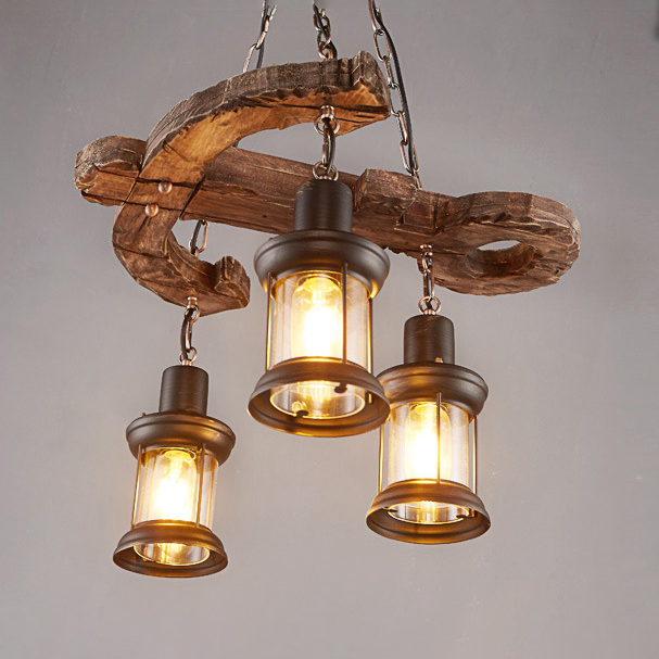 3 Heads Lantern Chandelier Light With