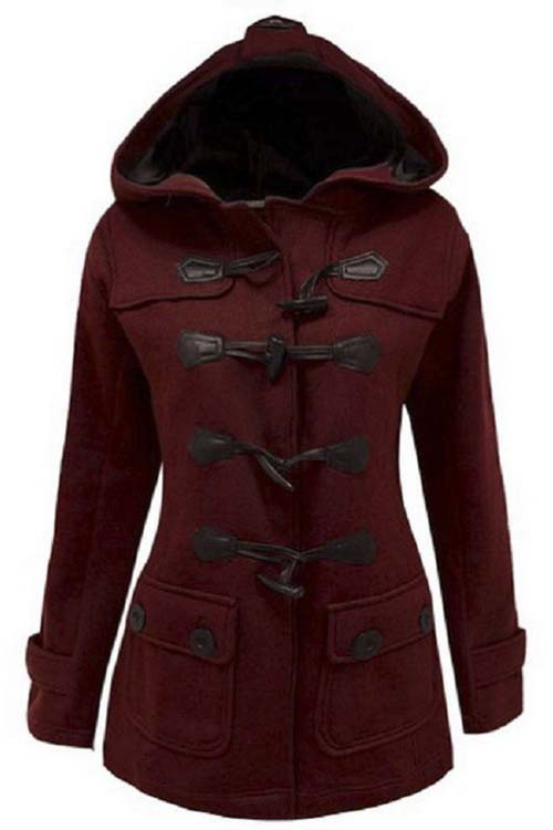 Women's Plus Size Long Sleeve Double Breasted Pea Coat Hoodie Winter, Burgundy