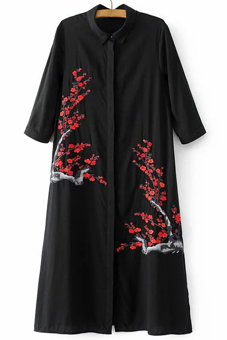Fashion Floral Embroidery Pattern Single Breasted Lapel Tunic Shirt, Black