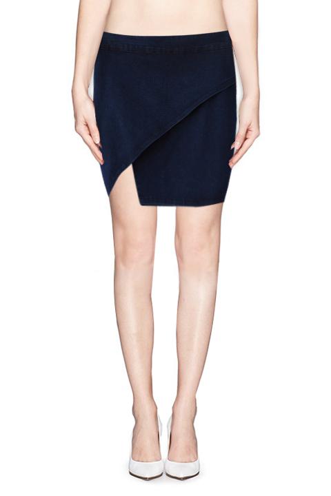 ec729fb7f1 Asymmetric Hem Zip Back Stretch Denim Skirt - Beautifulhalo.com