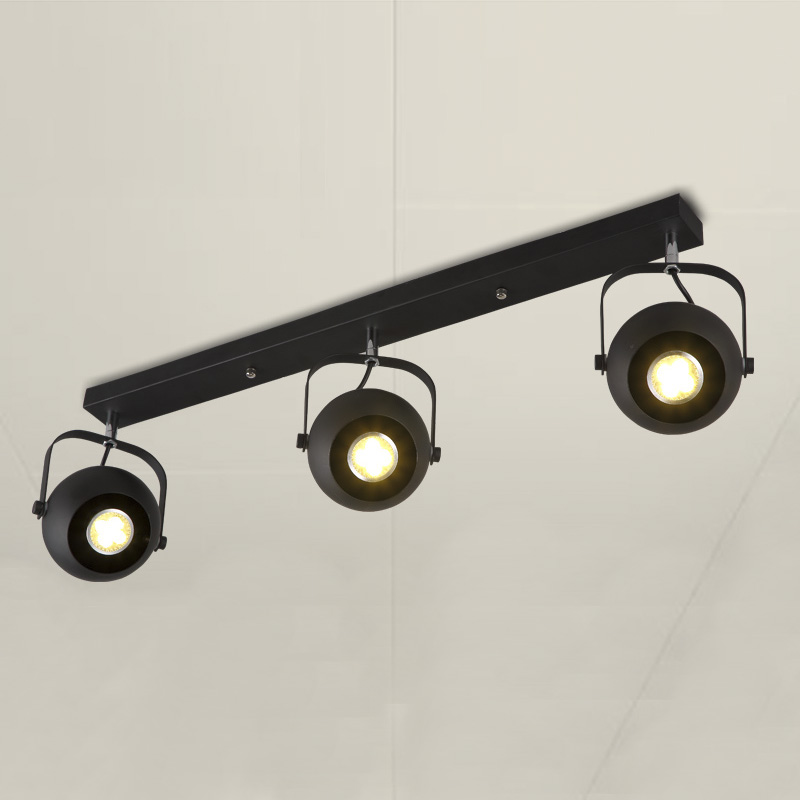 30'' Wide Industrial Three Bulbs Spotlight Ceiling Light with Round