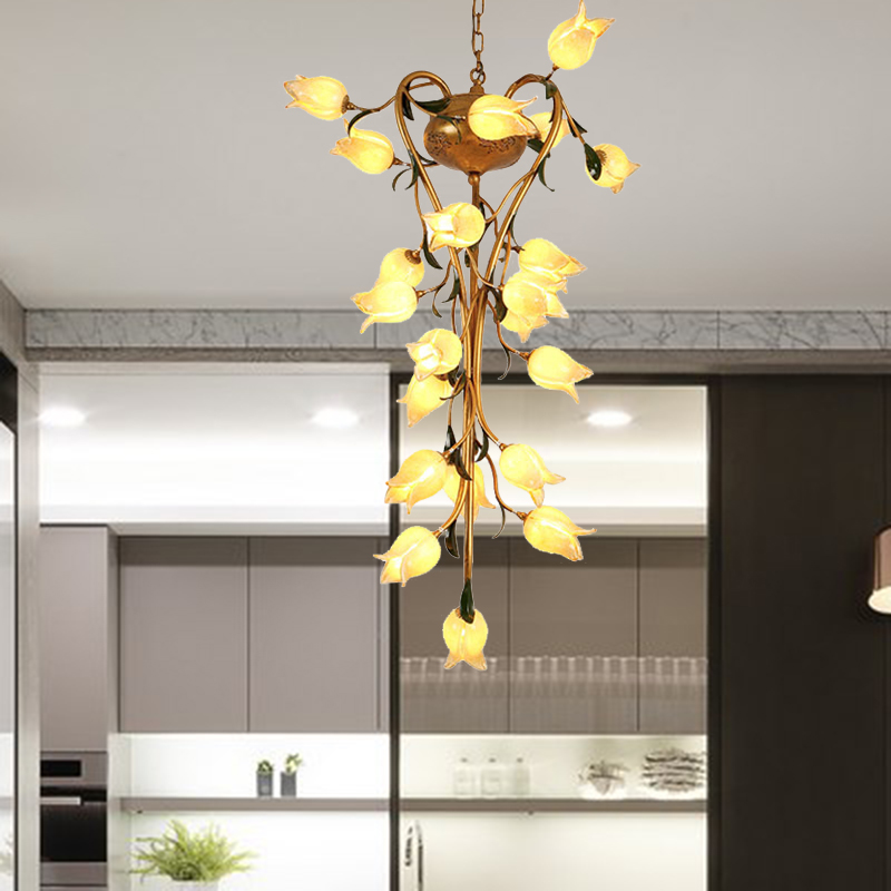 Metal Brass Chandelier Lamp Flower 21-Head Vintage LED Ceiling Hang Fixture for Stair