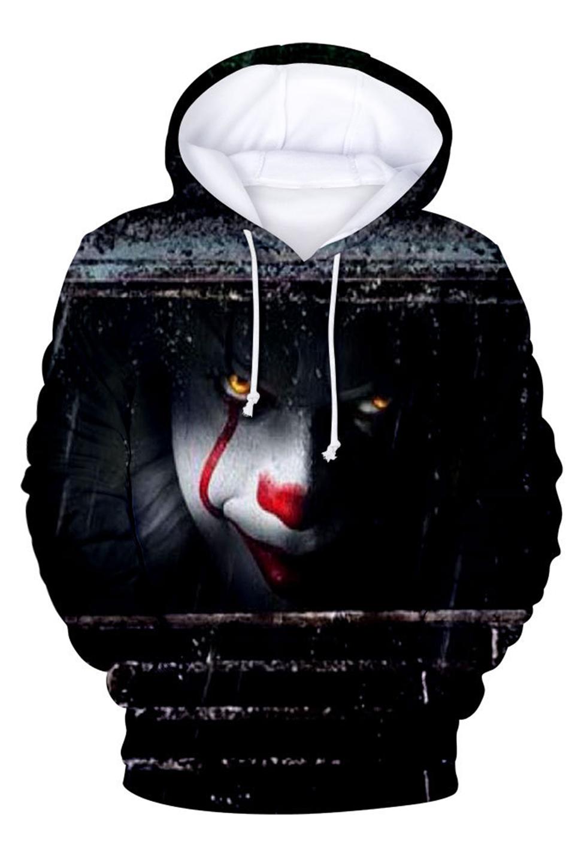 CHINITH Joker Skull Drawstring Sweatshirt Womne Long Sleeves Hoodie