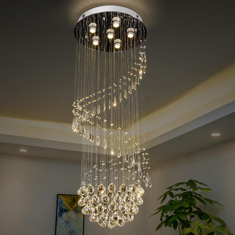 6-Head Crystal Ball Ceiling Flush Simple Chrome Spiral Living Room Flush Mount Lamp