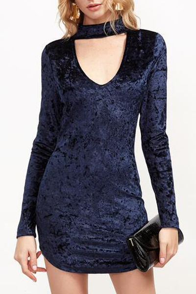 Sexy Cutout V-Neck Long Sleeve Zip Back Plain Mini Bodycon Dress, Blue