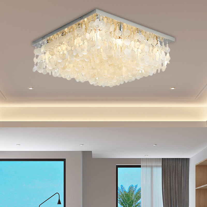 Tropical Beach Shell Ceiling Fixture Crystal Square Ceiling Light Fixtures In White For Bedroom Beautifulhalo Com