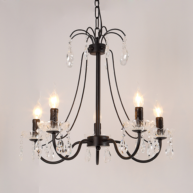 Rustic 6 Light Glass Shade Twig Black Wrought Iron Chandelier
