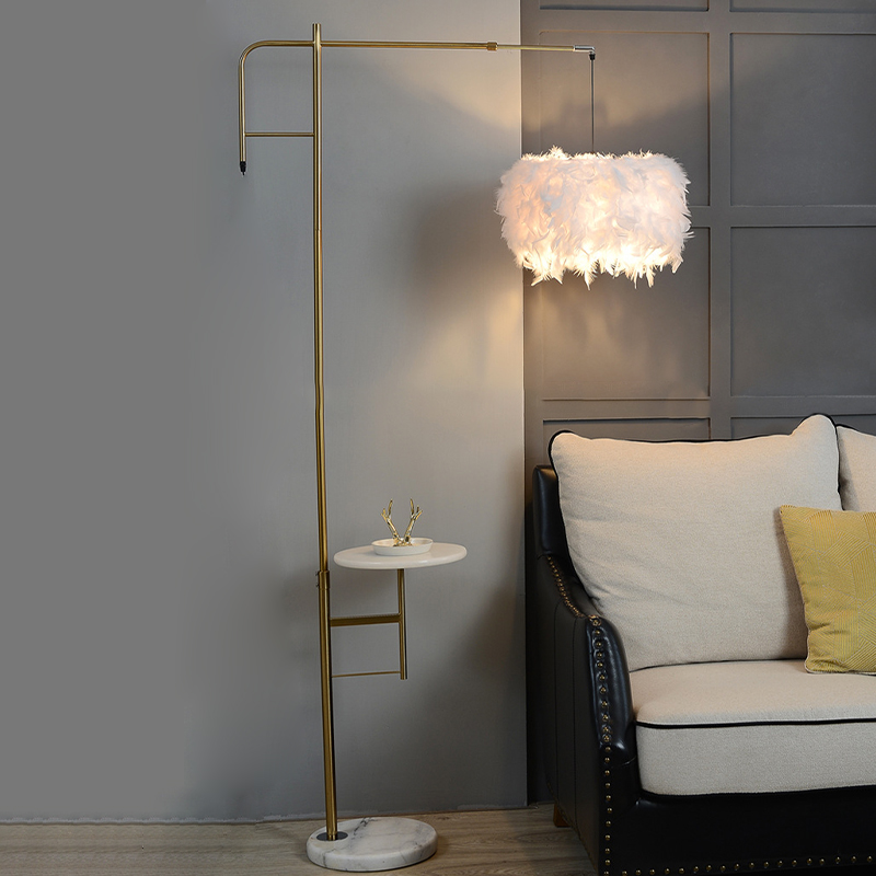 Gold Finish Right Angle Floor Desk Light Post Modern 1 Light Metal Stand Up Lamp With Feather Shade Beautifulhalo Com