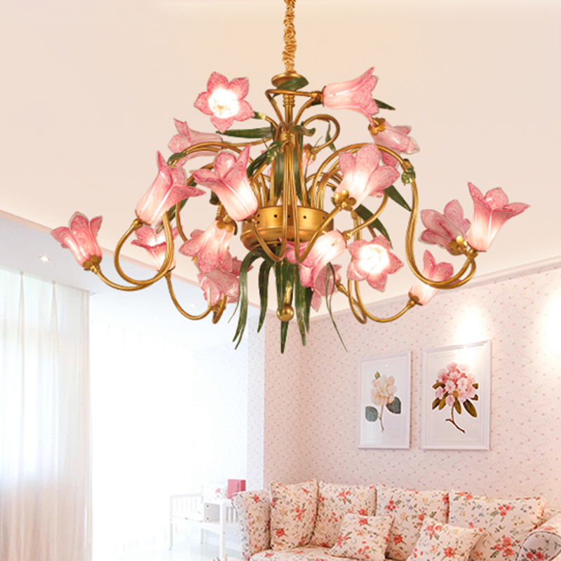 American Garden Lily Ceiling Chandelier 20 Lights Metal LED Pendant Lighting Fixture in Gold
