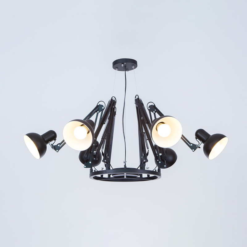 Adjustable Arm Chandelier with Dome Shade Industrial Metal 6 Lights Hanging Lamp in Black