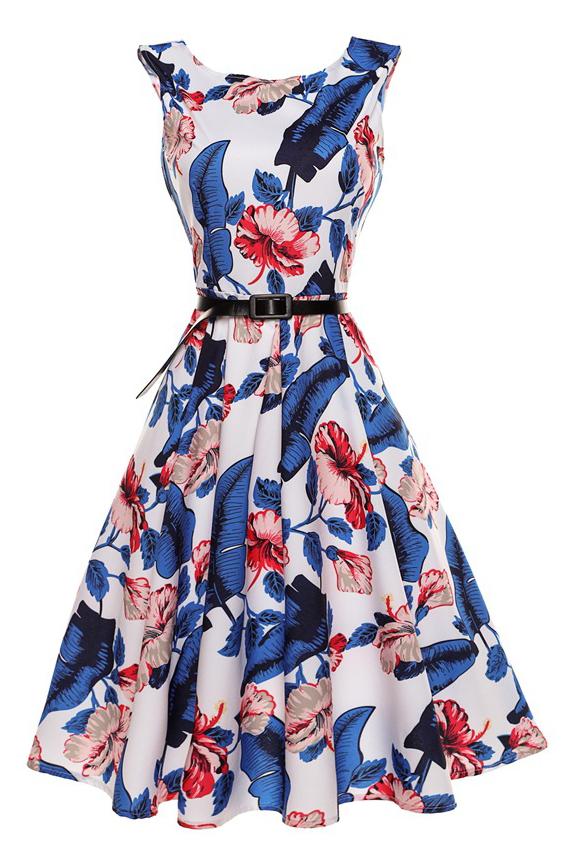 Elegant Chic Floral Printed Sleeveless Round Neck Midi Skater Dress, Blue