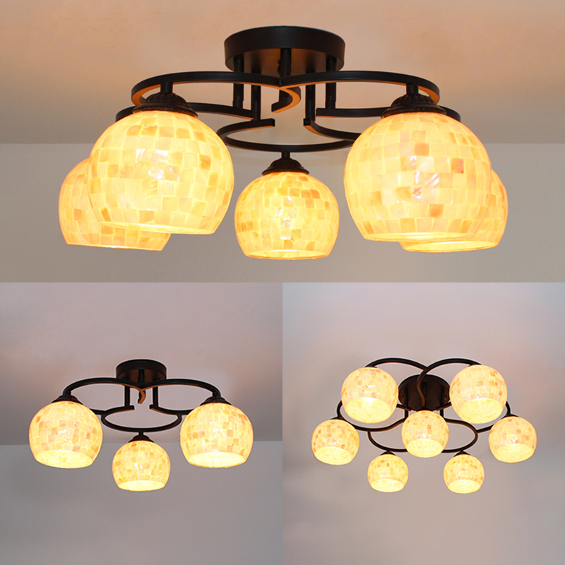 Shell Spherical Semi Flush Mount Light