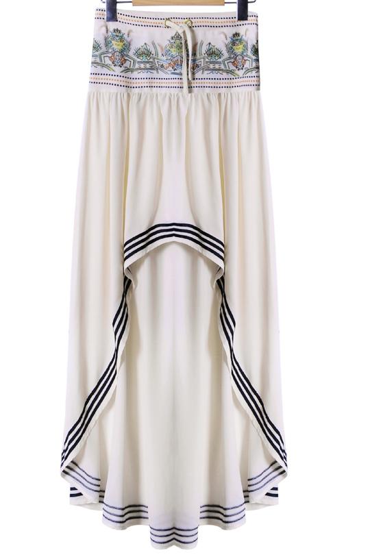 New Stylish Drawstring Waist Striped Trim High Low Hem Asymmetric Skirt Beautifulhalo Com