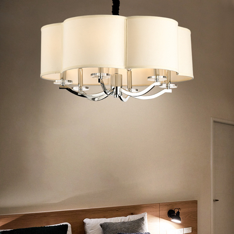 Height Adjustable Square Chandelier Lamp White Fabric Shade 6 Lights Modern Hanging Light in Chrome