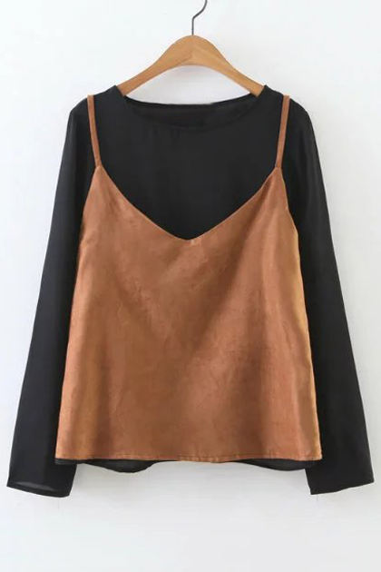 Fake Two-Piece Color Block Women's Round Neck Long Sleeve Blouse, Black