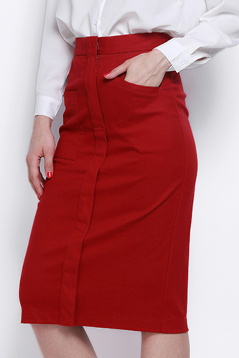 Chic OL Style Plain Midi Bodycon Skirt with Two Pockets, Burgundy