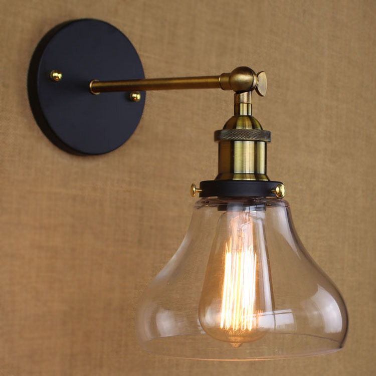 Sconce Wall Light with Clear Glass Bowl Shade in Bronze