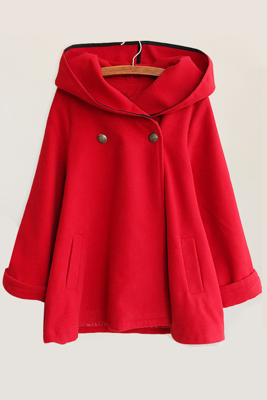 Fashion Double Breasted Hooded Long Sleeve Plain Cape with Two Pockets, Red