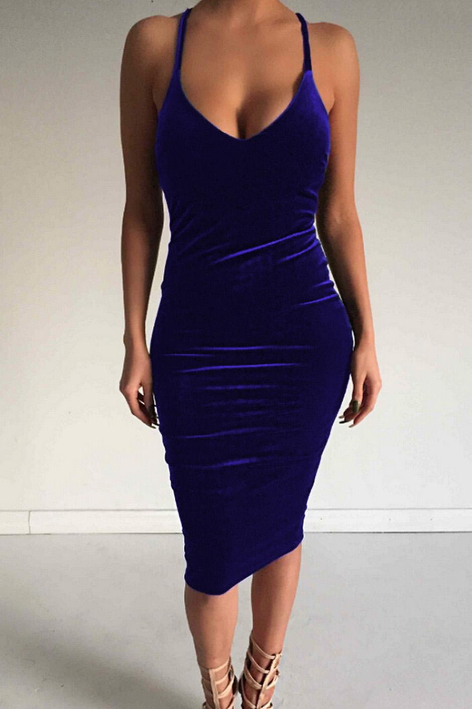 Women's Sleeveless Bodycon Midi Dress Velvet Club Bandage Dress, Royal blue
