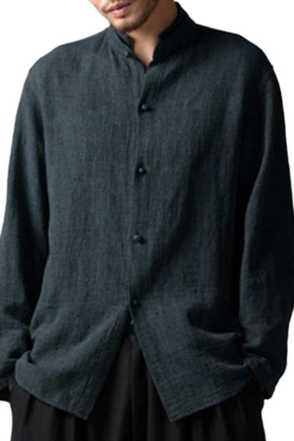 mens vintage short sleeve Linen button down collar XL shirt