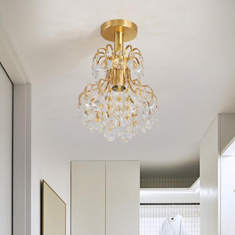 Br Crystal Semi Flush Mount Light