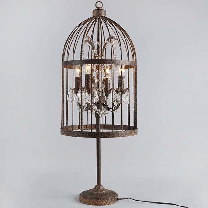 Rust Iron 4 Light Bird Cage Table Lamp with Crystals