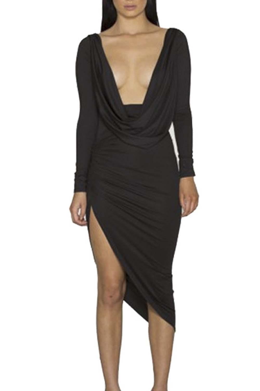 Deep V Neck Bodycon Wrap Dress