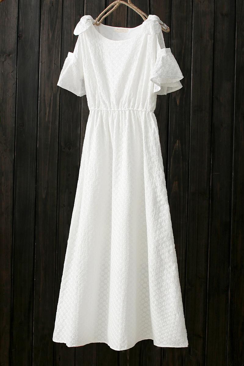 623f3dc985 Round Neck Short Sleeve Cold Shoulder Floral Embroidered Maxi A-Line Dress