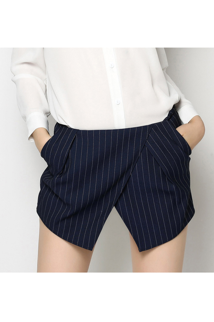 Summer's New Arrival Striped Printed Wrap Front Leisure Shorts Skorts, Blue