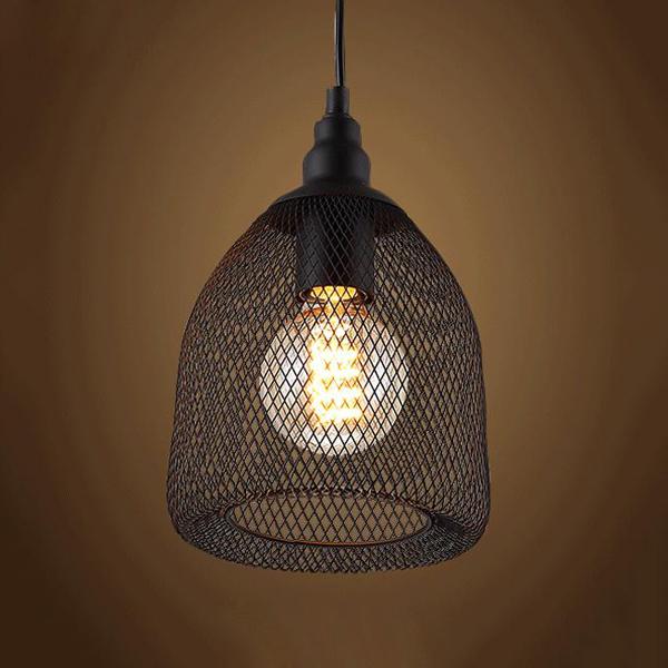 Vintage Black Industrial Rustic Metal, Wire Mesh Lamp Shade