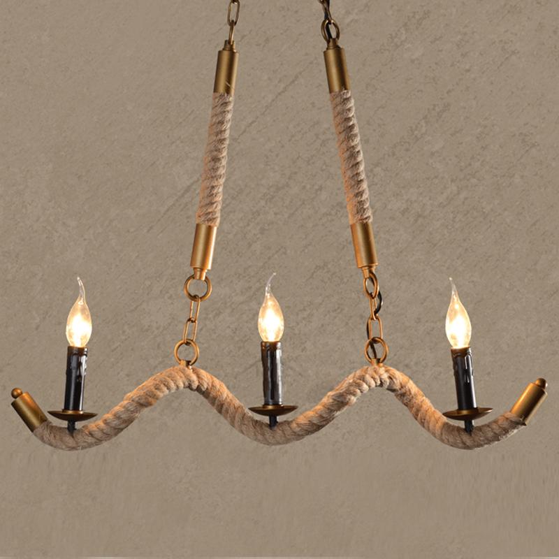 Industrial Vintage Rope Style Three-Light 27.5Wide Island Lighting