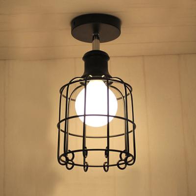 Cage Style Black Finished Mini Light Semi Flush Ceiling Light
